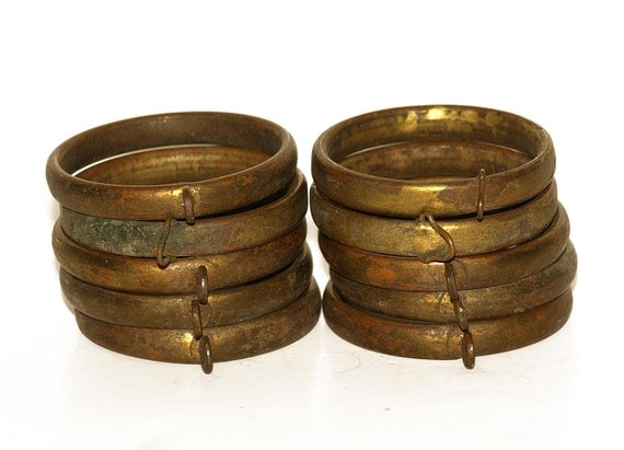 Set of Ten, Vintage, Brass Curtain Rod Rings
