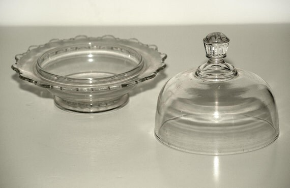 Antique Butter Dish, Clear Glass, Dome Lid, Lovely Holiday Gift, Perfect for Serving or Displaying Precious Collectibles