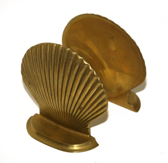 Brass, Clamshell, Clam Shell Bookends, Book Ends, Lovely Library or Book Shelf Decor