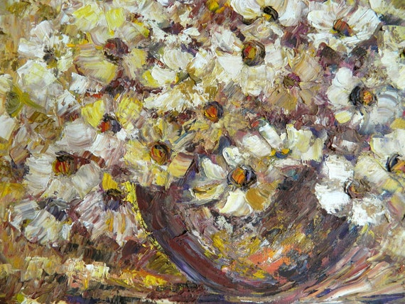 Packaged and Ready to Ship, Lovely, Oil Painting, 1970s, Pretty Yellow and White Flowers, Oil on Stretched Canvas, Unsigned