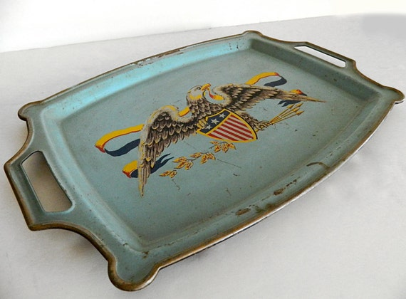 Vintage, American Eagle, Tole Tray, Aqua, Regal Eagle, Federal Eagle