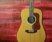 large modern guitar painting commission- acoustic- red blue black- custom colors and sizes available
