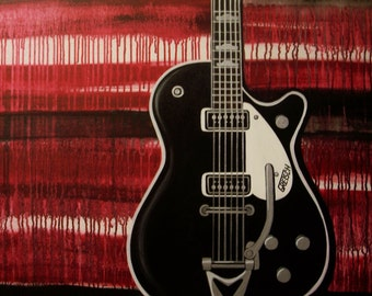 large modern guitar painting commission- red black blue gold- acoustic electric- custom colors and sizes available