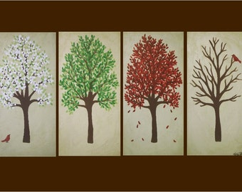 """huge modern tree painting - """"Four Seasons""""- multicanvas piece- custom colors and sizes available"""