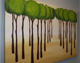 """large """"Skinny Tree Forrest"""" (with green) painting commission"""