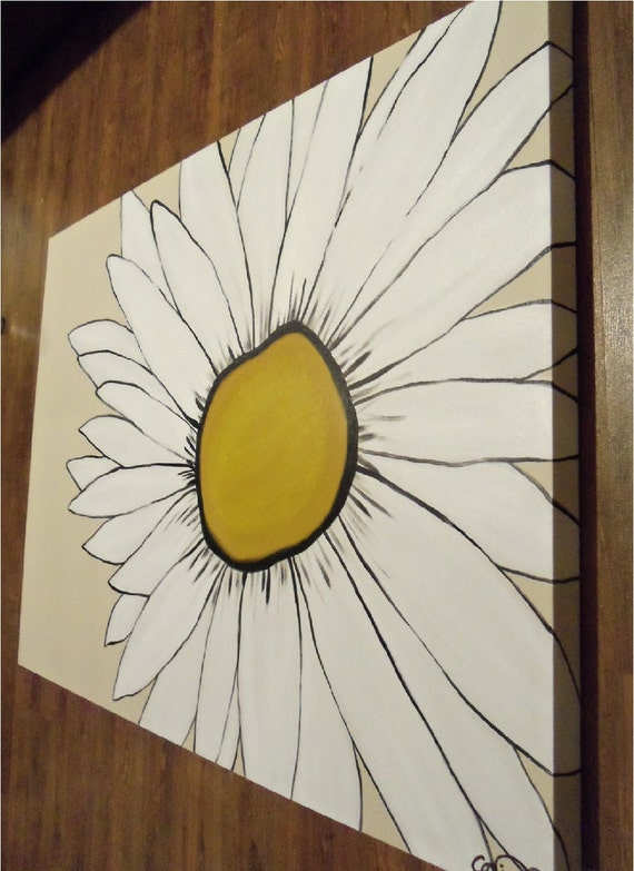 large daisy painting- yellow white black tan- abstract- custom sizes and color available