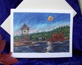 Set of 5, Sail Boats and Lighthouse Cards with Moonlight and Starry Navy Blue Sky