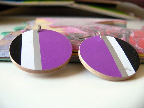 Recycled Skateboard Wooden Disc Earrings- Purple Striped Disk Dangler Earrings
