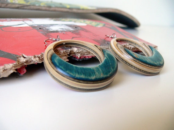 Hoop Dangle Earrings made from Recycled Skateboard Blue and Black with Multicolored Graphic Wood Hoop Earings