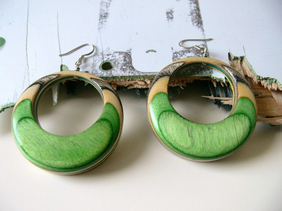 Recycled Skateboard Reversible Multicolored Wooden Hoop Earrings with Green, Yellow, Blue and Black