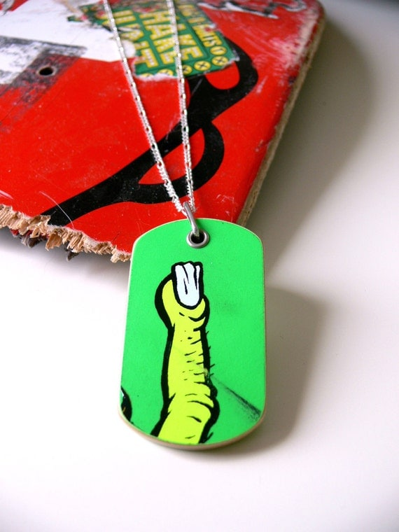 Recycled Skateboard Wood Single Dog Tag Bright Green with Neon Yellow Finger Necklace