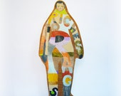 OOAK Hand painted plywood sculpture -- RIches to Rags Man