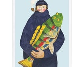 Greeting Card -- Lucky Fisherman