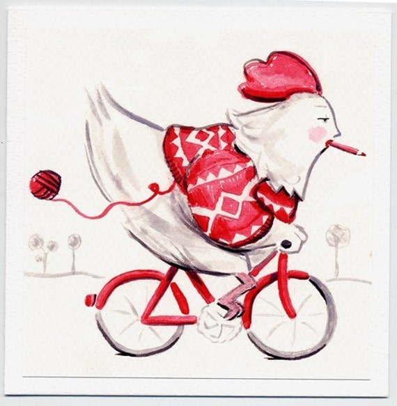 Greeting card -- A Chicken on a Bicycle