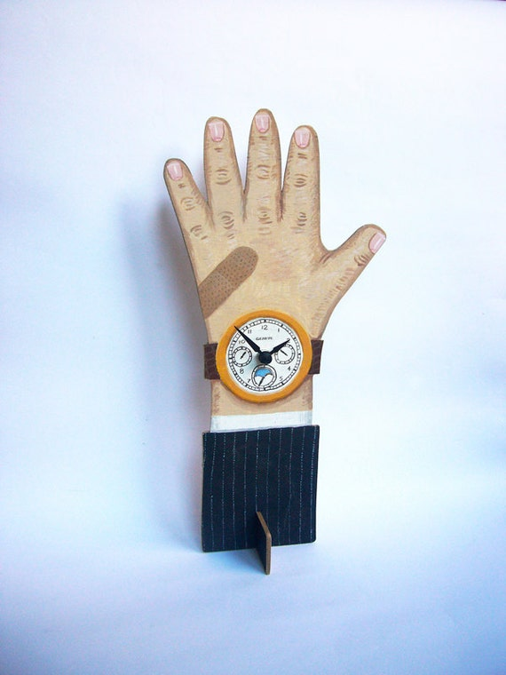 Handpainted wooden Clock Hand -- Mr Sloane