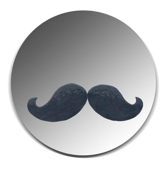 Handpainted mirror - Black Moustache