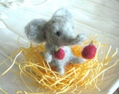 A Little Grey Elephant (Needle Felted Wool)