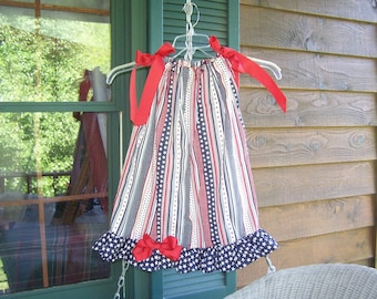 Miss Red, White, and Blue  Pillowcase Dress 4-5  Ready to ship