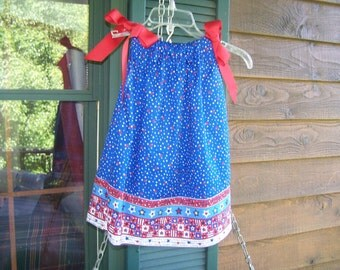 Miss Patriotic Pillowcase Dress 3T  Ready to ship.