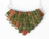 "Unakite Stone Necklace - ""Xanadu"" Moss Green & Terra Cotta Red Gemstone Necklace - Triangular Gem Stone Necklace - Long Silver Plated Chain"