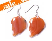 75% OFF SALE Red Agate Stone Leaf Feather Earrings Fiery Marbled Amber Lava Orange Carved Native American Indian Natural Gemstones