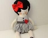 Coco - handmade cloth doll with felt heart
