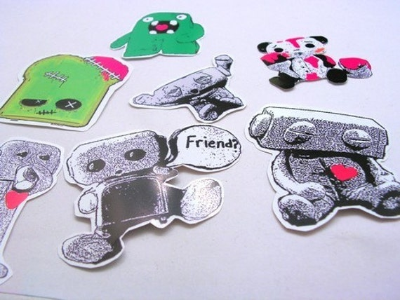 Sleepy Robot 13 Sticker Pack w\/ Free Brooch