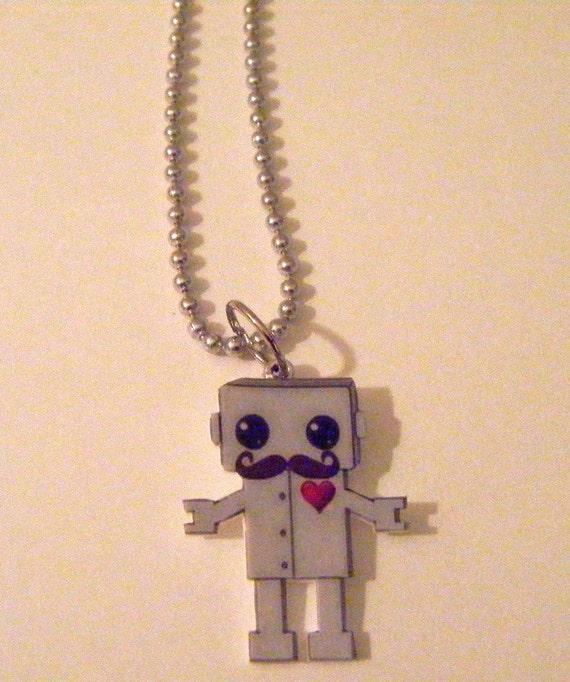 Mustache Robot Necklace