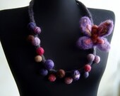 felt butterfly and balls statement necklace, bib necklace, eco friendly