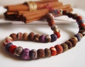 felt cinnamon and chocolate balls necklace, statement necklace, eco friendly, strand necklace,Winter Accessories