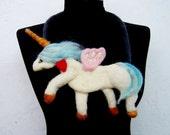 felt unicorn statement bib necklace