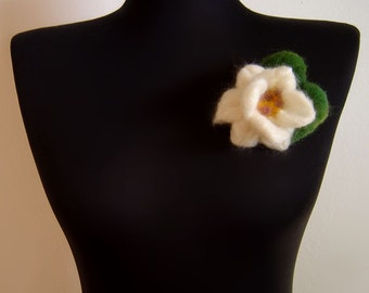 lotus blossom felt brooch, eco friendly, statement brooch, spring brooch