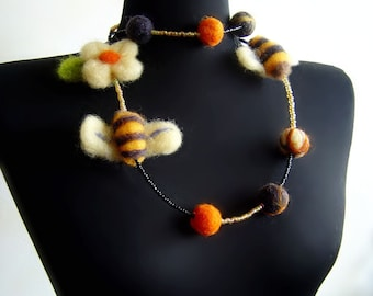 felted  beads balls and bees felt necklace, eco friendly, statement necklace, strand necklace