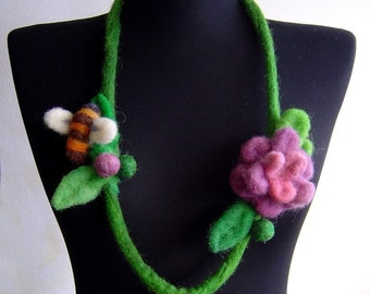 SALE felt flower and a bee necklace, eco friendly, statement necklace