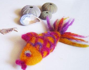 golden fish felt  brooch, good luck brooch, eco friendly brooch, statement brooch