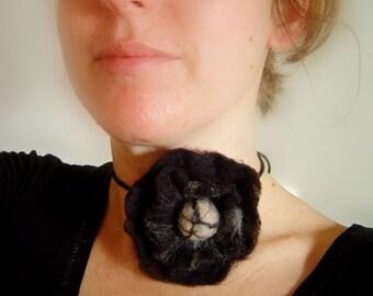 felt flower in black, statement necklace, eco friendly