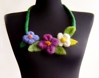 garden felt fiber flower necklace,statement necklace, eco friendly, bib necklace