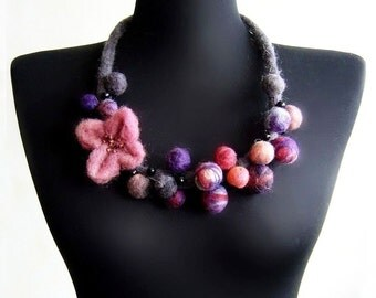 statement necklace felt flower and balls eco friendly bib necklace, statement necklace,strand necklace