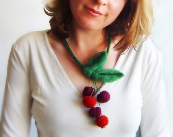 felt cherries necklace, eco friendly, summer necklace, statement necklace