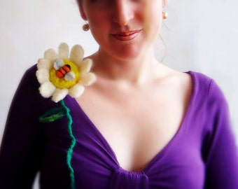 felt flower and a bee brooch, statement brooch, eco friendly