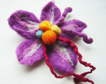 felt flower lilac, eco friendly, statement brooch