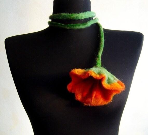 SALE felt flower fiber orange summer necklace lariat