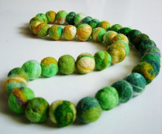 SALE felt necklace, fiber balls lime green necklace, eco friendly, statement necklace, strand necklace