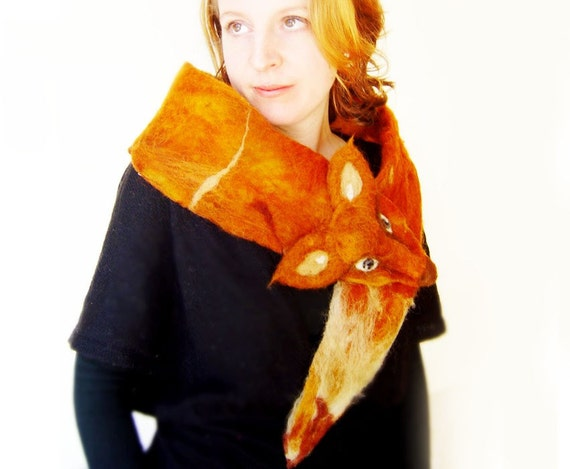 Foxy Lady felted eco friendly animal scarf, Winter Accessories