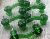 6 Glass Drawer Pulls Emerald Green Set of 6 with 3 Inch Centers