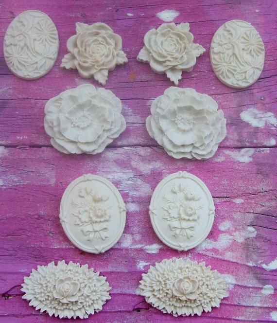White Roses Cameos Appliques Cabochons Polymer Clay Paintable