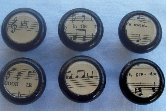 Vintage Music Note Vintage Sheet Music  Chic  Collection 6 Knobs Black Wood
