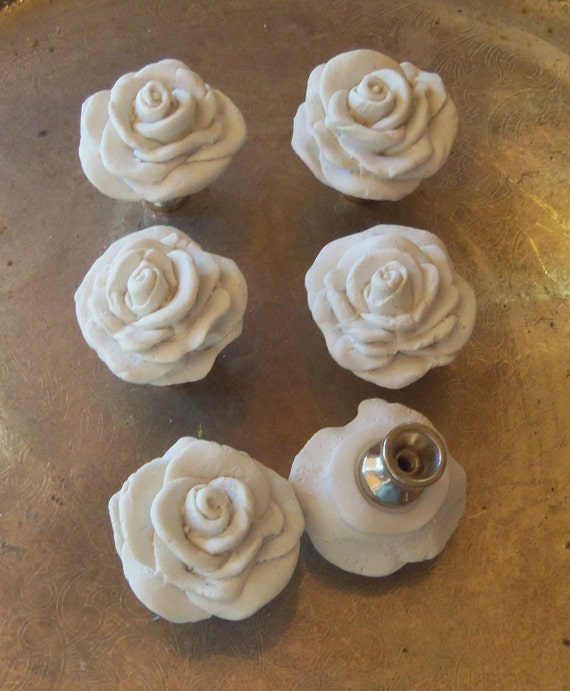 6 Polymer Clay Rose Knobhanger  Roses Knobs White Lot of 6