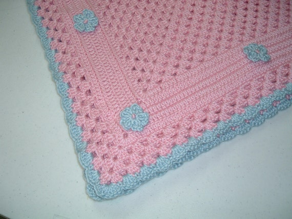 So Soft So Sweet Baby Afghan in Pink with Blue Trim
