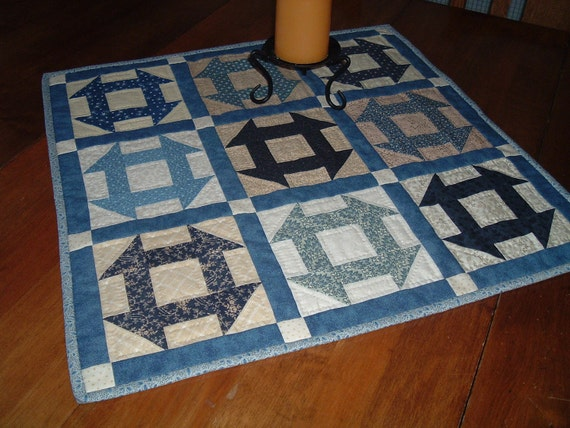 Blue and Beige Table Topper Small Quilt